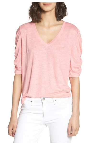 Chelsea28 ruched elbow sleeve linen tee in pink flamingo - Here's a cool linen tee with just the right amount of...