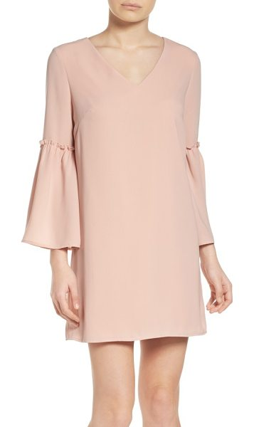 Chelsea28 ruffle bell sleeve dress in pink dust - Dusty-pink color brings an of-the-moment blush to a...