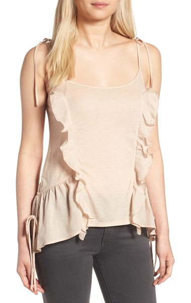 Chelsea28 ruffle knit tank in beige moonlight - Cascading ruffles style a whimsical tank in an airy...