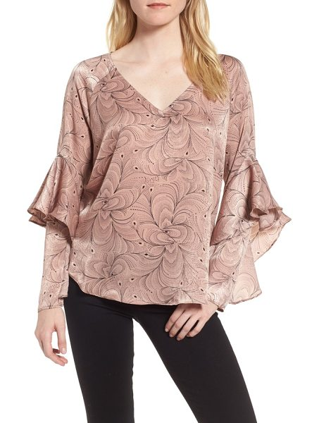 Chelsea28 ruffle sleeve blouse in pink adobe feather wave