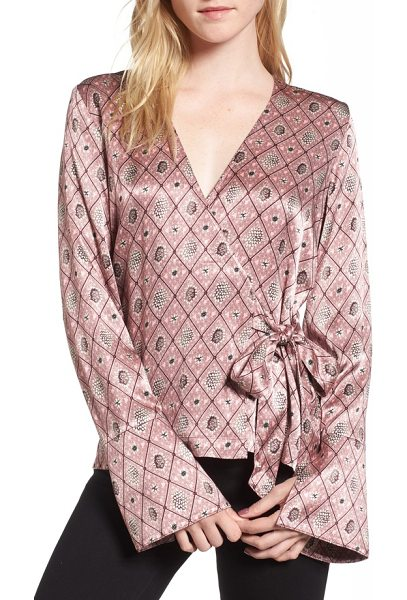 Chelsea28 satin wrap blouse in pink nostalgia kimono foulard - A flouncy ruffle ties the flattering silhouette of this...