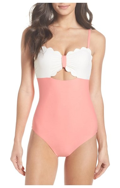 Chelsea28 scallop bandeau one-piece swimsuit in coral shell / ivory egret - Simply chic and ultra flattering, this strapless...
