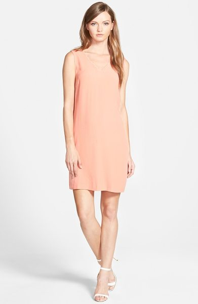 Chelsea28 scalloped neck shift dress in coral apple - A scalloped neckline adds to the classically feminine...