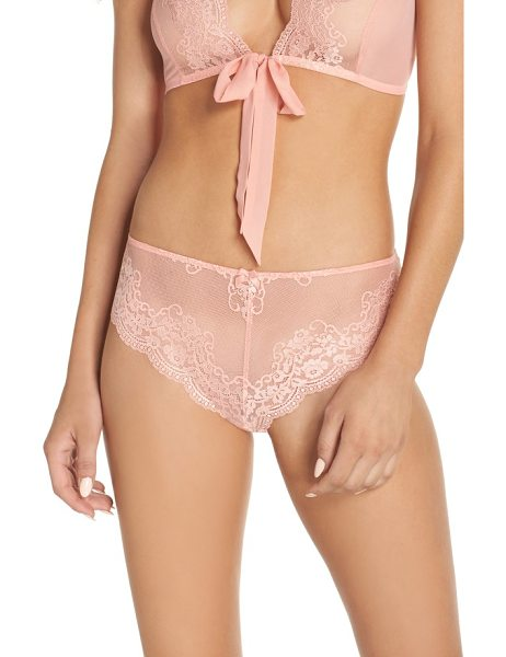 Chelsea28 sheer love hipster bikini in coral almond
