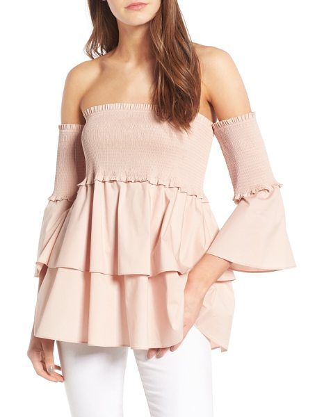 Chelsea28 smocked off the shoulder poplin top in pink smoke - Smocked for a comfy, slip-free fit, this stretch-poplin...