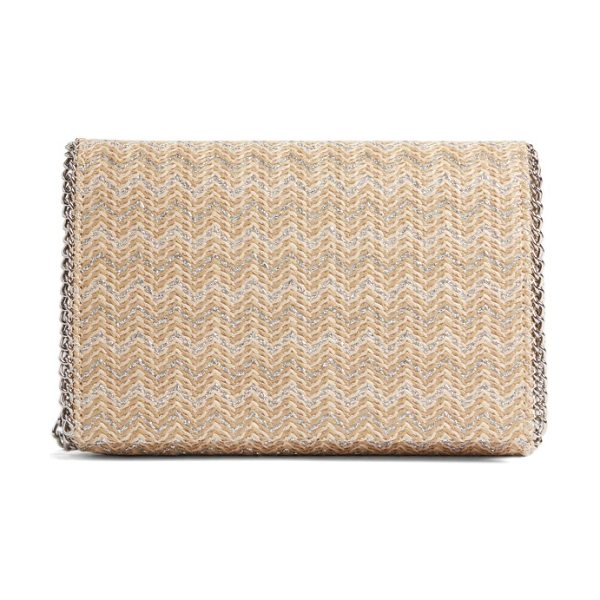 Chelsea28 stripe straw convertible clutch in natural- silver chevron - Updated in striped woven straw for the new season, this...