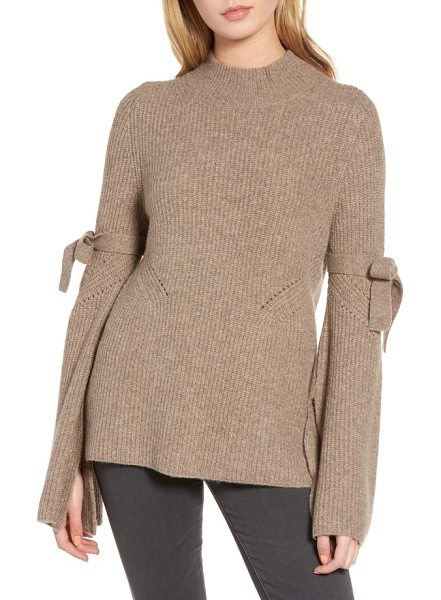 Chelsea28 tie bell sleeve sweater in tan portobello heather - A contemporary take on a classic sweater, this...