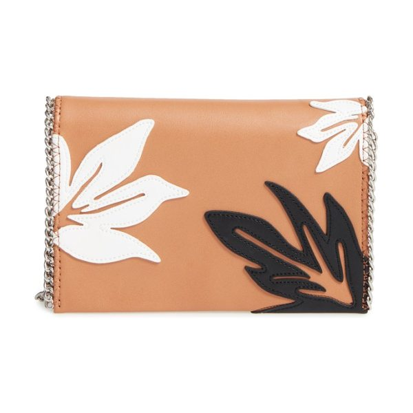 Chelsea28 tropical applique chain clutch in tan sugar - Tropical-themed appliques stand out on a faux-leather...