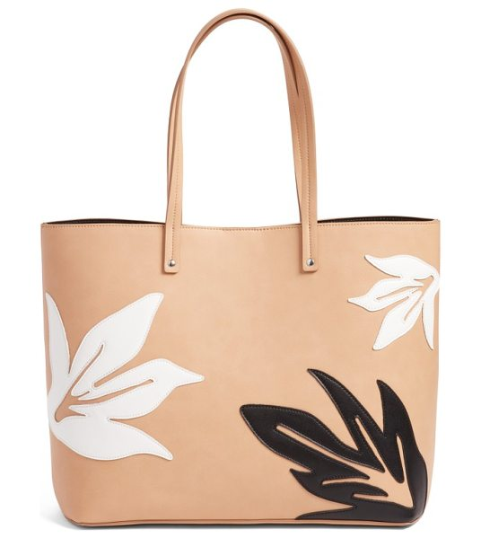 Chelsea28 tropical applique faux leather tote in tan sugar - Be summer ready with this versatile faux-leather tote...