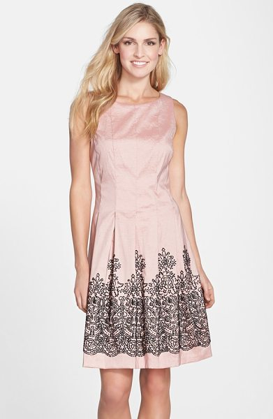 Chetta B beaded stretch taffeta fit & flare dress in rose/ black - Linear seams flow right into the box-pleated skirt of...