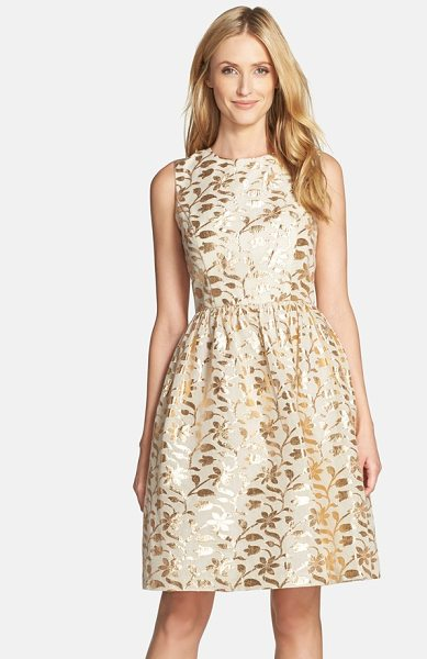 Chetta B metallic leaf jacquard fit & flare dress in ivory/ gold - Shimmering foil-jacquard leaves twine across the fitted...