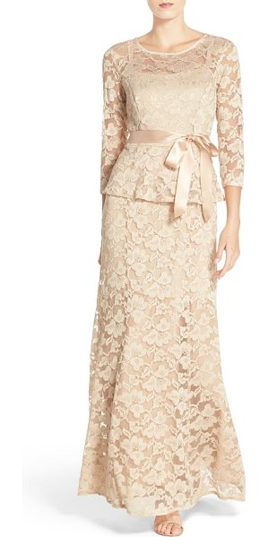 Chetta B peplum lace mermaid gown in prosecco - Stretchy floral lace traces the timelessly flattering...
