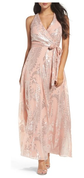 CHETTA B print maxi dress in blush/ silver - With a no-fuss, faux-wrap silhouette, this maxi dress...