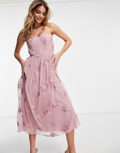 Chi Chi London 3d floral strapless prom dress in mink-pink in pink