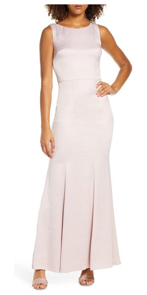 Chi Chi London ayse lace back satin trumpet gown in pink