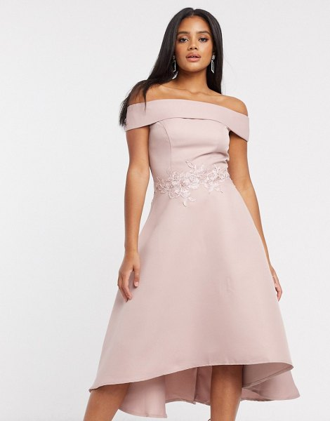 Chi Chi London bardot high low midi dress in mink-pink in pink