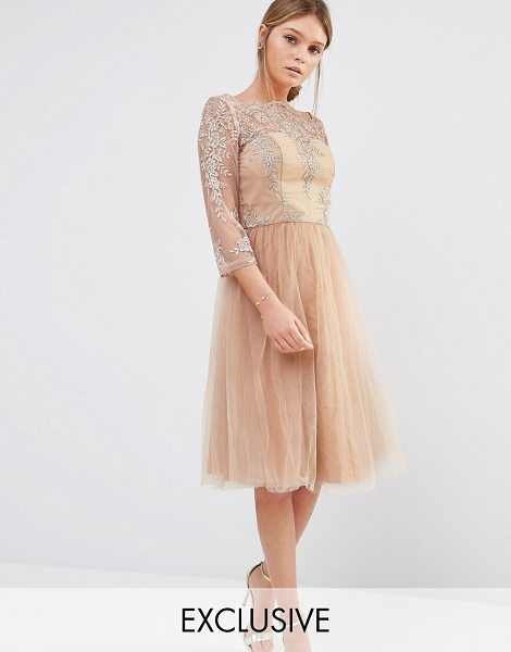 Chi Chi London Bardot Neck Midi Dress with Premium Lace and Tulle Skirt in tan - Midi dress by Chi Chi London, Embroidered mesh top, Boat...