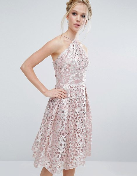 "Chi Chi London cutwork midi dress in blushsilver - """"Midi dress by Chi Chi London, Lined cutwork lace,..."