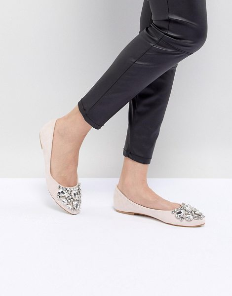 Chi Chi London embellished ballerina flat in nude - Flat shoes by Chi Chi London, Ballet pumps, No lessons...