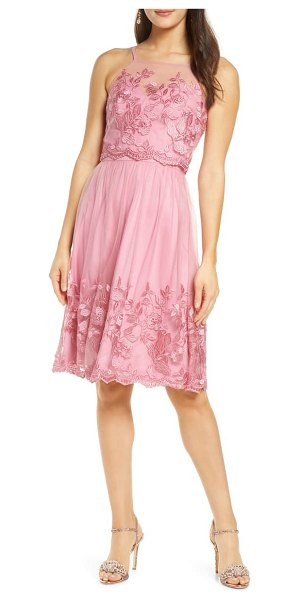 Chi Chi London embroidered fit & flare cocktail dress in pink