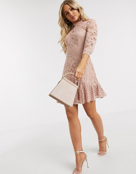 Chi Chi London flippy lace skater dress in mink-pink in pink