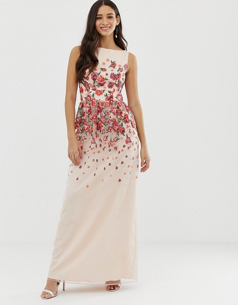 Chi Chi London floral embroidered dress in pink in nudered