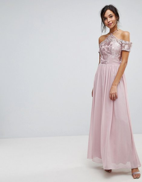 Chi Chi London halter maxi with off shoulder lace detail in mink in taupe