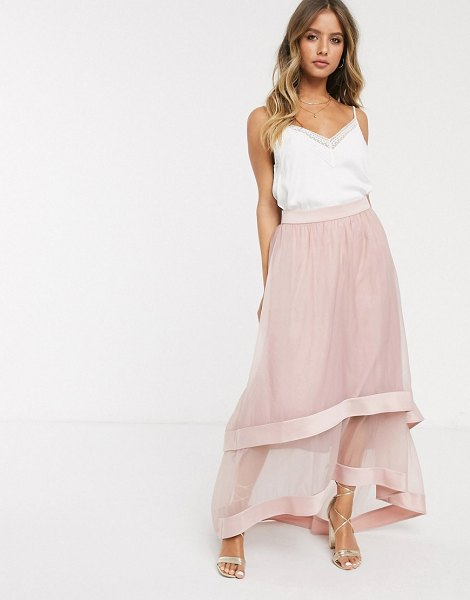 Chi Chi London high low organza maxi skirt in blush-pink in pink
