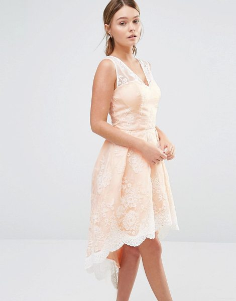 "Chi Chi London High Low Prom Dress In Embroidered Lace in pink - """"Dress by Chi Chi London, Woven fabric, Semi-sheer..."