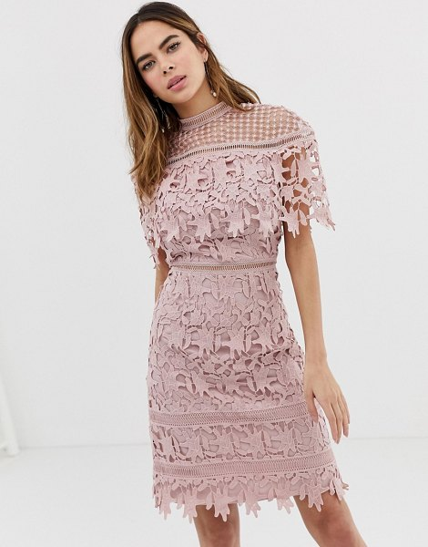 Chi Chi London high neck lace pencil midi dress in blush pink in blush