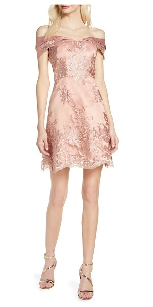 Chi Chi London jameela off the shoulder embroidered cocktail dress in pink