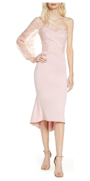 Chi Chi London krissie one-shoulder high/low cocktail dress in pink