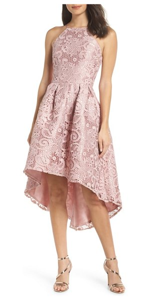 Chi Chi London lace dip high/low dress in pink - A crocheted lace overlay adds to the romantic look of a...