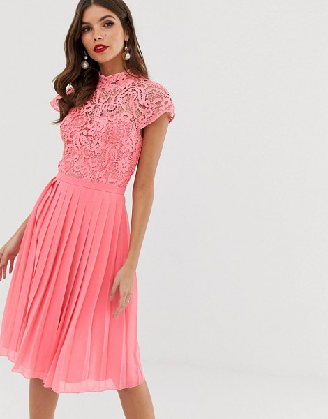 Chi Chi London lace midi dress with pleated skirt in coral-pink in pink