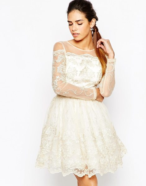 Chi Chi London Long Sleeve Premium Lace Mini Prom Skater Dress in cream - Evening dress by Chi Chi London, Sheer lace and mesh...
