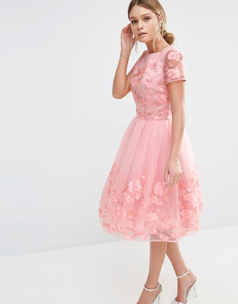 Chi Chi London Midi Dress with 3D Floral Applique in pink - Midi dress by Chi Chi London, Embroidered mesh, Round...