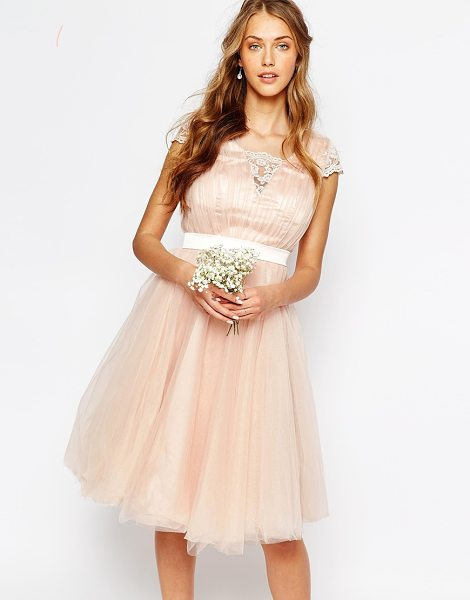 Chi Chi London Midi Dress with Tulle Skirt And Lace Back in pink - Midi dress by Chi Chi London, Silky lining, High...