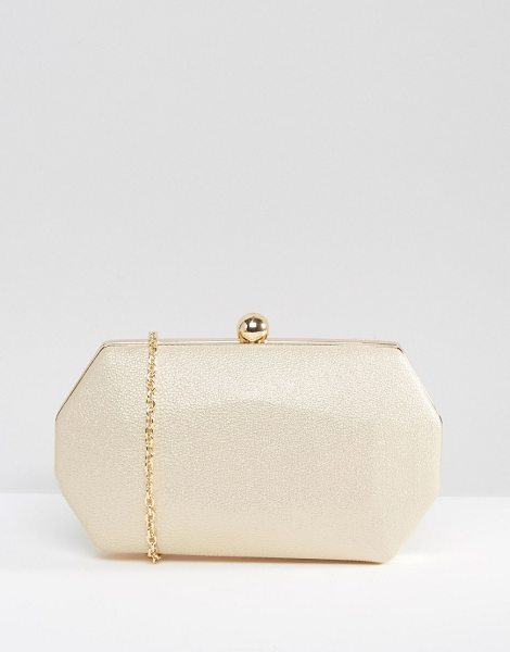 Chi Chi London Octagonal Clutch Bag in Pale Gold in gold - Clutch bag by Chi Chi London, Faux-leather outer,...