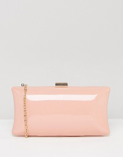 Chi Chi London Patent Pink Box Clutch Bag in pink - Clutch bag by Chi Chi London, Patent finish outer,...