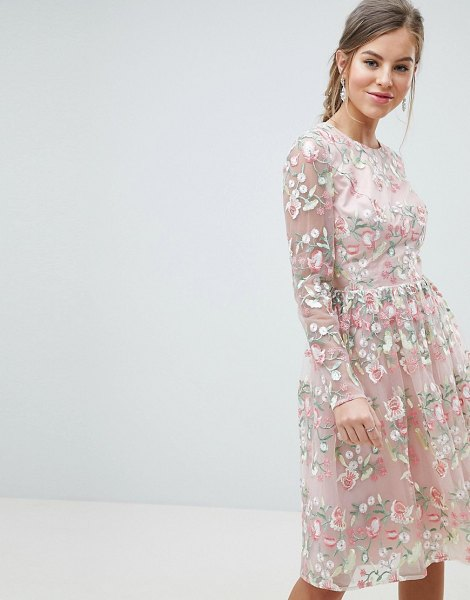 Chi Chi London premium embroidered floral long sleeved midi prom dress with open back in pinkmulti