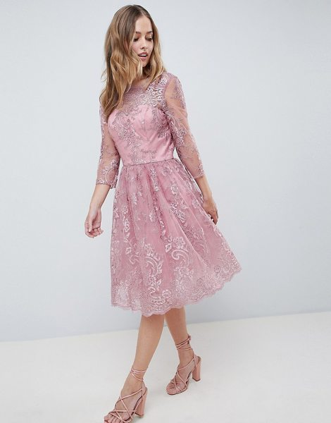 Chi Chi London premium embroidered long sleeve midi dress in duskypink
