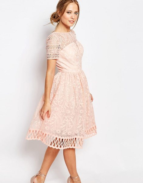 CHI CHI LONDON Premium Lace Dress with Cutwork Detail and Cap Sleeve - Lace dress by Chi Chi London, Floral lace, Bandeau...