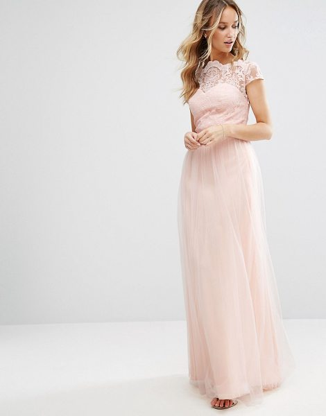 "Chi Chi London Premium Lace Maxi Dress With Tulle Skirt And Cap Sleeve in pink - """"Maxi dress by Chi Chi London, Woven fabric,..."