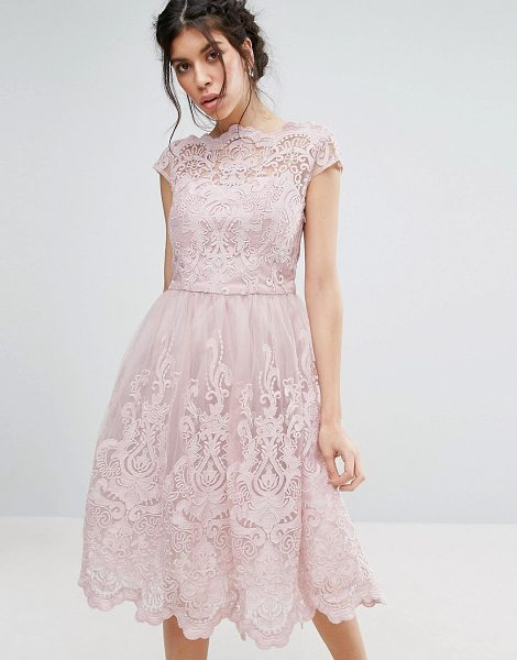 Chi Chi London premium lace midi prom dress with bardot neck in mink-pink in pink