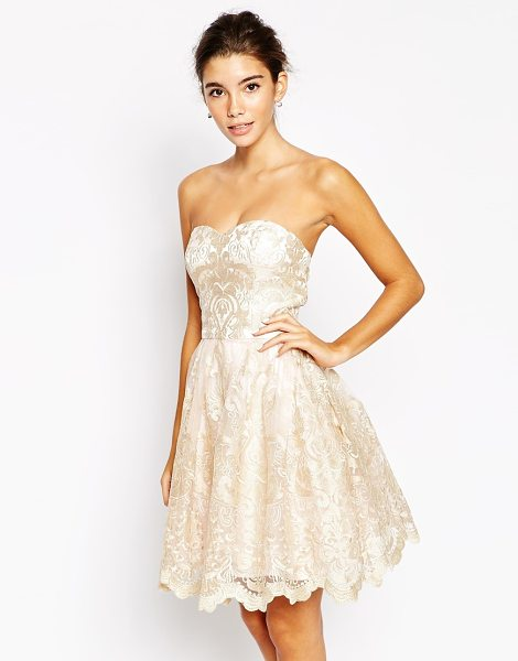 CHI CHI LONDON Premium metallic lace bandeau mini prom dress in nudegold - Dress by Chi Chi London Layered mesh Sweetheart neckline...