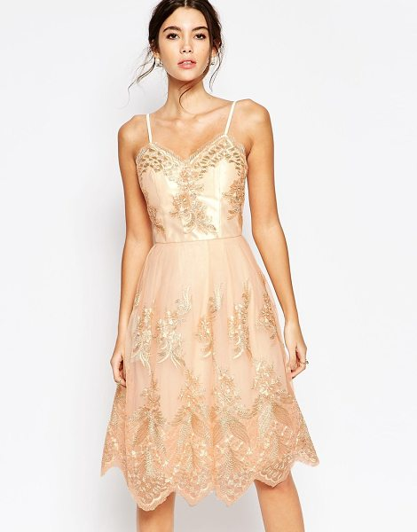 Chi Chi London Premium Metallic Lace Midi Prom Dress with Cami Straps in gold - Midi dress by Chi Chi London, Sheer embroidered mesh,...