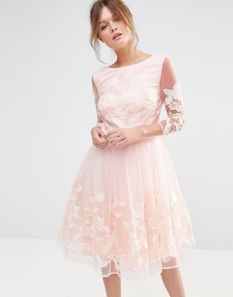 Chi Chi London Premium Midi Prom Dress with Embrodery in pink - Evening dress by Chi Chi London, Lined embroidered mesh,...