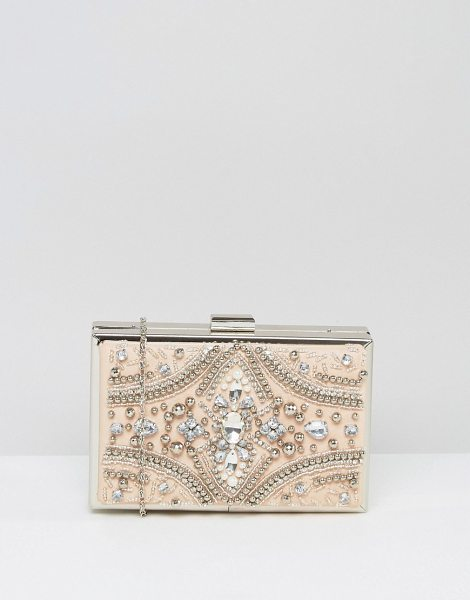 Chi Chi London Rectangular Embellished Box Clutch in beige - Clutch bag by Chi Chi London, Faux leather outer,...