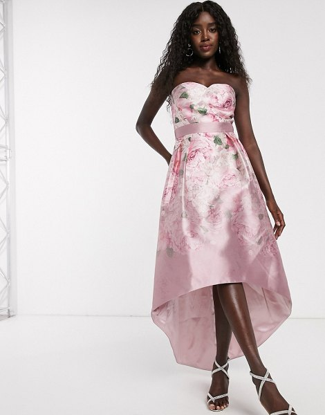 Chi Chi London satin midi dress with extreme high low in ombre rose print-pink in pink