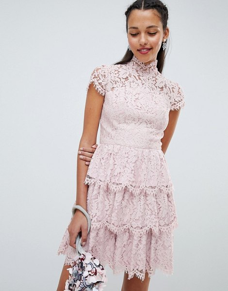 Chi Chi London tiered lace high neck skater dress in mink - Dress by Chi Chi London, Cute, right? Fully lined, High...
